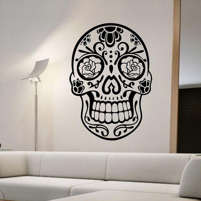 Sugar Skull Wall Stickers Bedroom Creative Home Decor Removable Wall Decals  Vinyl Art Murals