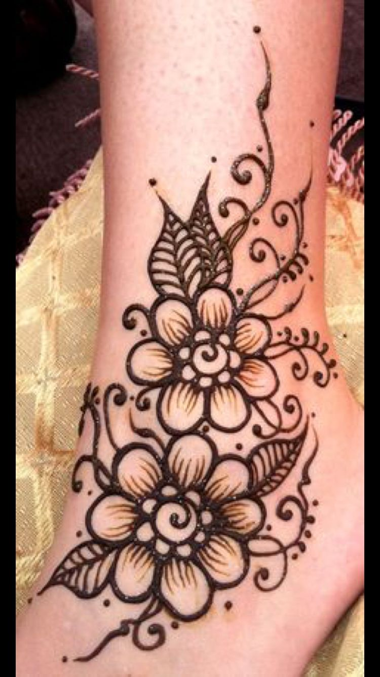 Leg Flower Henna Tattoo: Henna Tattoo Designs, Flower Henna