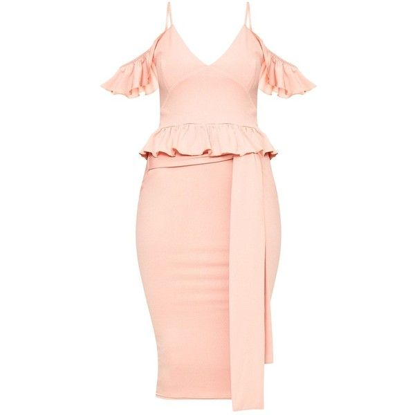 Dusty Pink Cold Shoulder Paper Bag Waist Midi Dress ❤ liked on Polyvore featuring dresses, pink midi dress, calf length dresses, paper dresses, midi dress and cold shoulder dresses