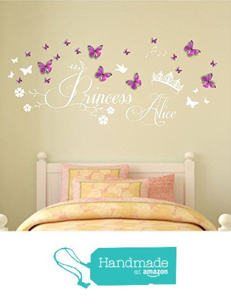 Personalised name, Princess, Vinyl Wall Art Sticker, Mural, Decal, With Personalised 3D Hot Pink/Sky Blue Butterflies. Home, Wall Decor, Children's bedroom, Nursery, Playroom. ANY name personalised from Fabulous Wall Art Stickers https://www.amazon.co.uk/dp/B01MXCQPN8/ref=hnd_sw_r_pi_dp_A7AhybH7C1R4D #handmadeatamazon