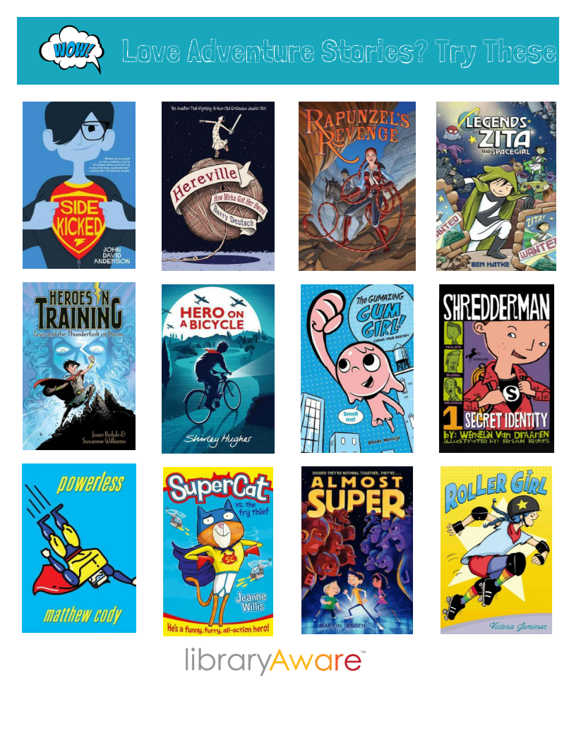 """Why not use our ready-to-print end cap flyer featuring cool adventure stories- or make your own! It's really easy to swap book jackets. Search LibraryAware for """"Adventure Stories"""""""