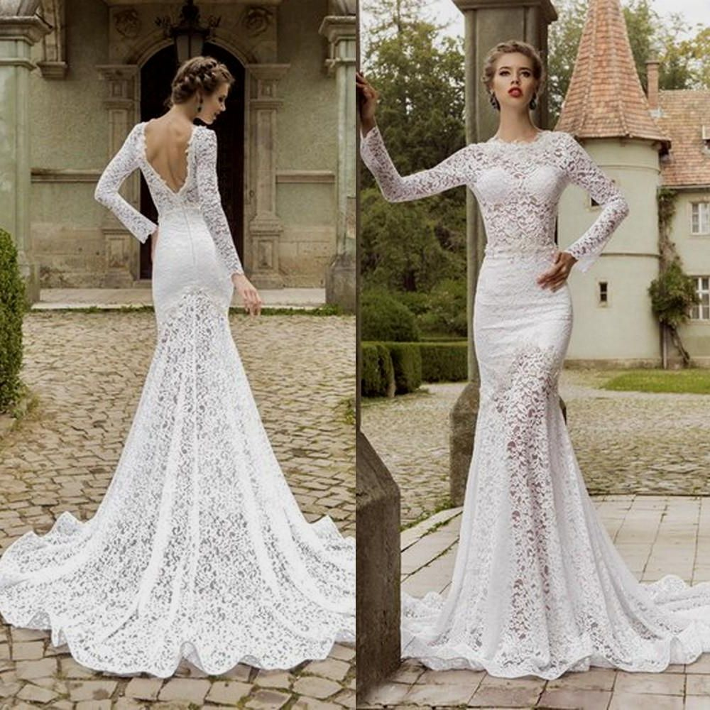 Lace Wedding Dress With Long Sleeves And Open Back Wedding In 2018