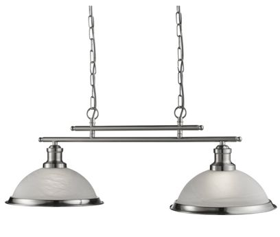 Searchlight bistro 2 light industrial ceiling bar satin silver searchlight bistro 2 light industrial ceiling bar satin silver with marble glass shade aloadofball Choice Image