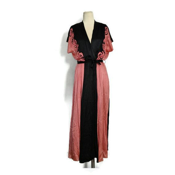 Vintage 1930\'s Black and Coral Pink Heavy Liquid Satin Evening ...