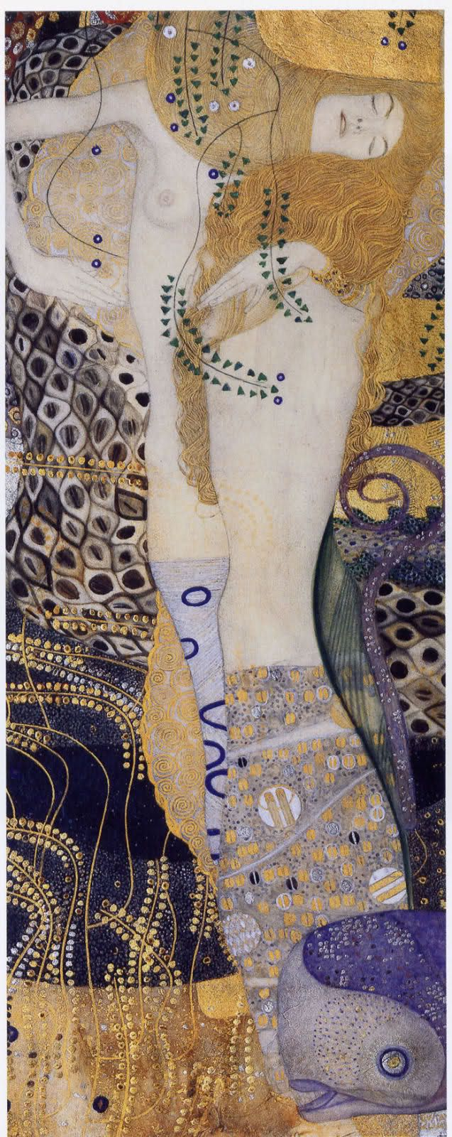 Gustav Klimt Sea Serpents I 1904 - 1907 Oil on canvas 20 cm x 50 cm  Österreichische Gal. Belvedere, Wien