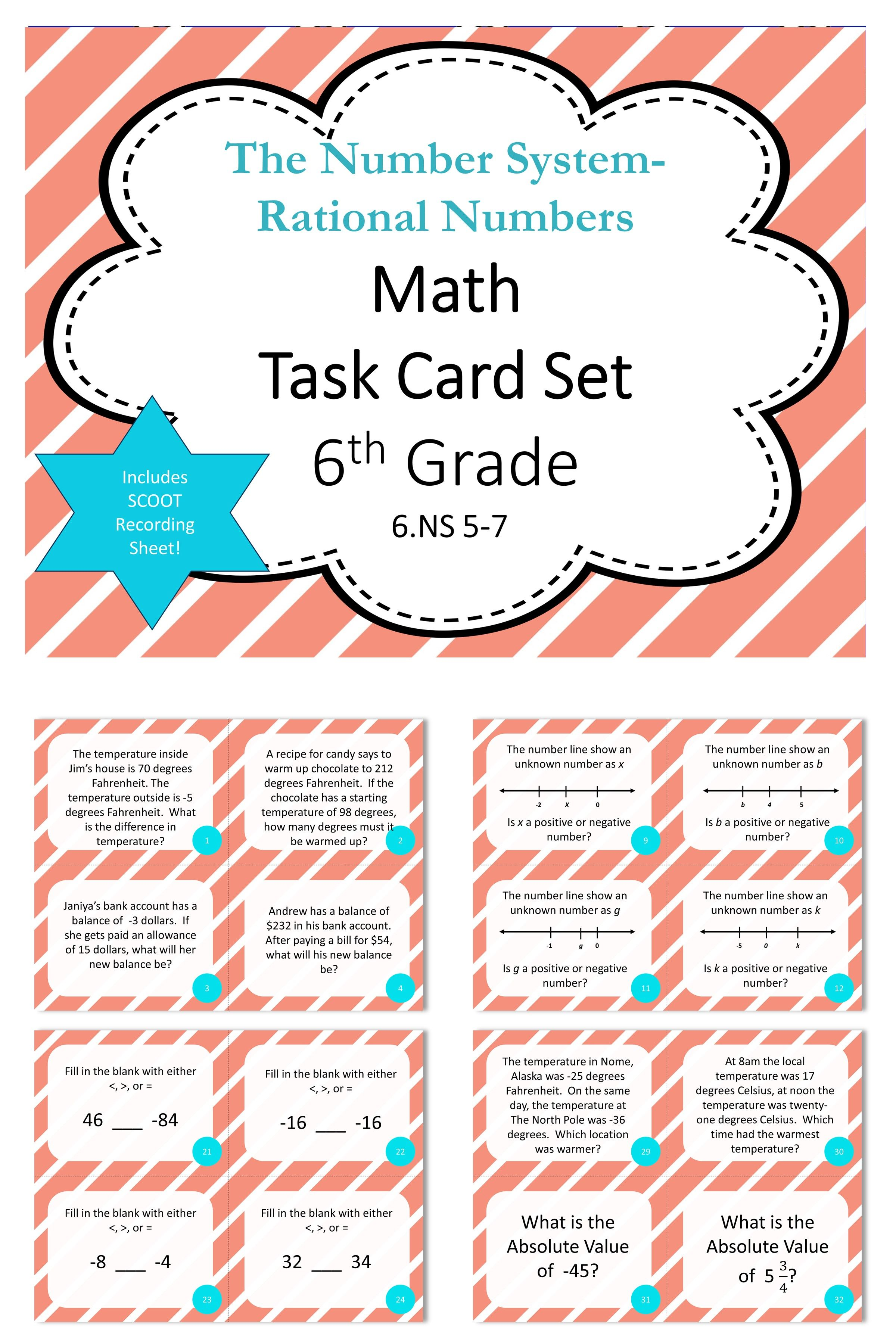 Fresh Ideas - 6th Grade Numbers System Rational Numbers Math Task Cards