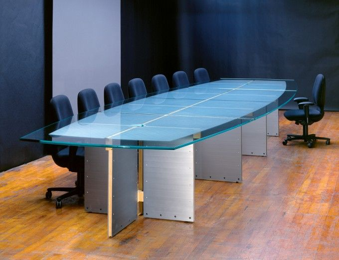 Large Glass Conference Tables And Custom Glass Boardroom Tables With  Stainless Steel For Sale