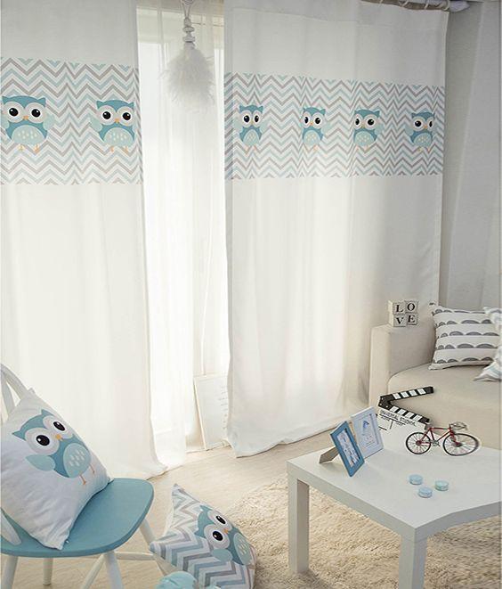 W X H Rideaux Chambre des Enfants Rideau Fini LOmbrage Petit Dessin Cheval Bleu Chambre Frais Et Adorable Fille Rideaux Baie Vitr/ée,150 X 270 Cm X 2