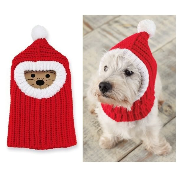 44037875c11 Keep your puppy warm (and stylish to boot) with this Red Balaclava knitted  headwear for dogs.