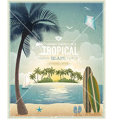 Beach And Palm Vintage Vector Image On Vectorstock Vector Background Free Vector Images Stock Images Free