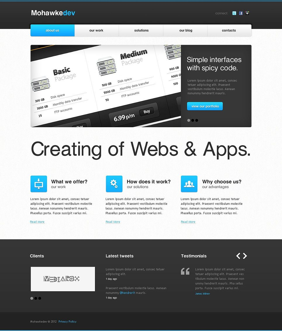 Web Development Facebook HTML CMS Template | Corporate Flyer