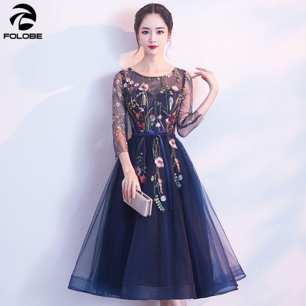 Photo of Stickerei Mesh Herbst Marineblau Kleid-Frauen rückenfrei sexy schlanke Partykleid