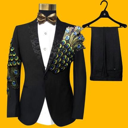 8cfc4e8ee62b Mens Gothic Steampunk Peacock Feather Black/Royal Blue/Red Embroidered Tuxedo  Suit Cosplay Suit. January 2019