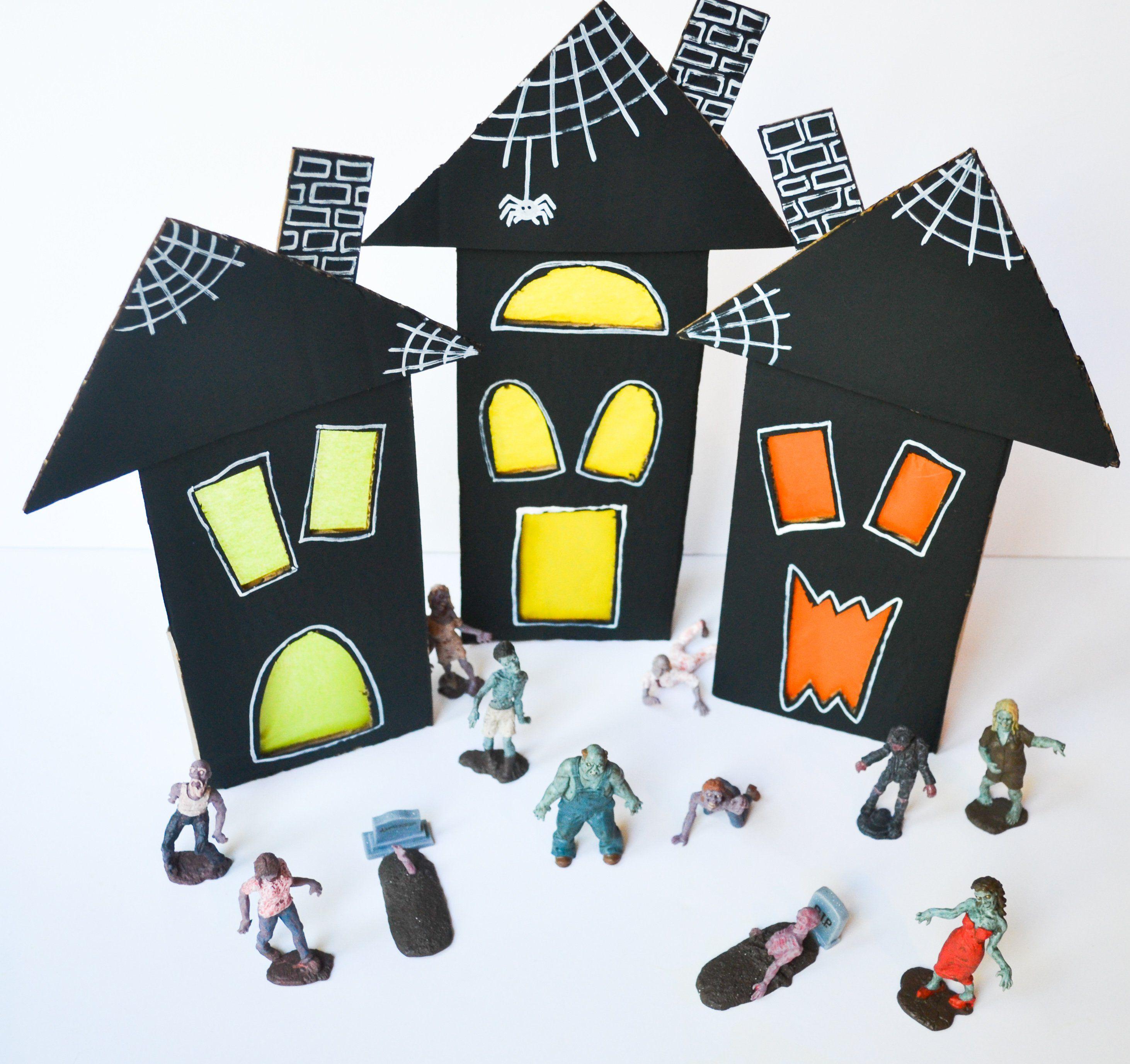 DIY Halloween Cardboard Haunted House Halloween diy