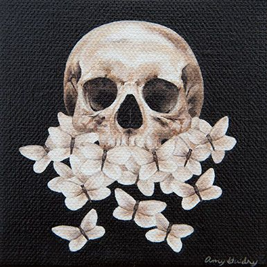 "Rebirth by artist, Amy Guidry; acrylic on canvas; 4"" x 4""; $100 #art #painting #surreal #surrealism #surrealist #skull #butterflies #nature #dark #lowbrow #veganartist #contemporaryart #dailypainting #affordableart"