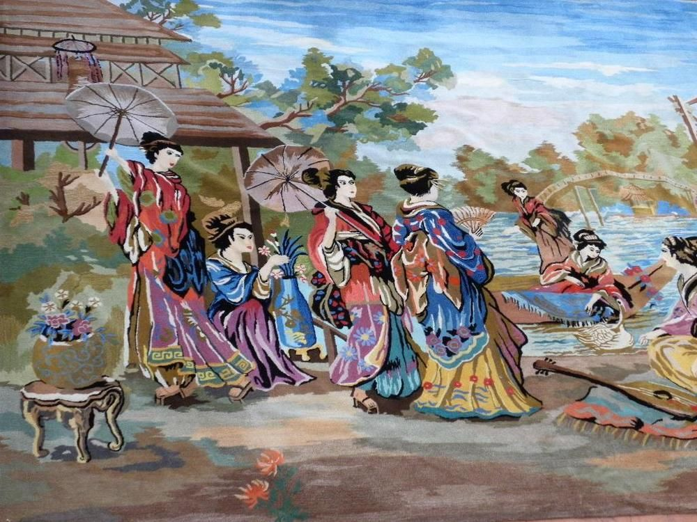HUGE 12 FT X 9 FT BREATHTAKING CHINESE PICTORIAL CAPRET WITH GEISHAS