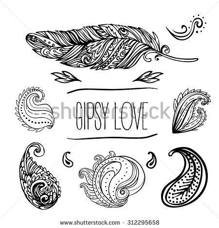 Gypsy Love: Set Of Ornamental Boho Style Elements. Vector