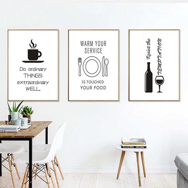 Minimalist Food Wine Lovers Kitchen Paintings Black White Nordic Art Wine Canvas Wall Art Dining Room Wall Art Dining Room Art