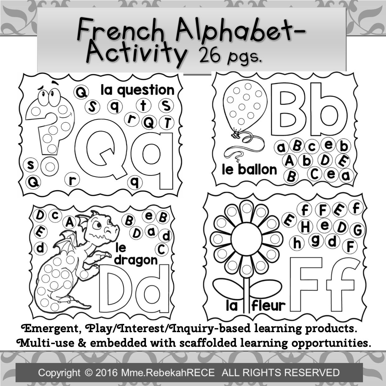 French Alphabet Recognition Literacy Activity Sheets