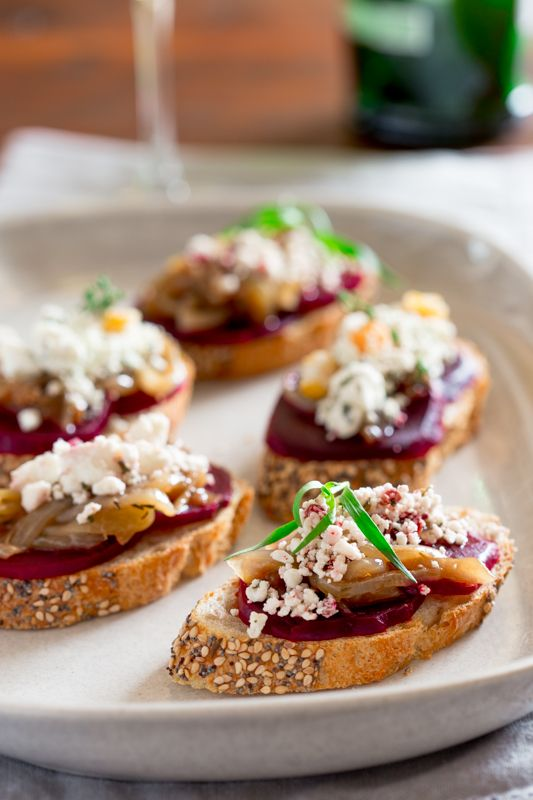 Beet and Caramelized Onion Bruschetta with Goat Cheese Crumbles