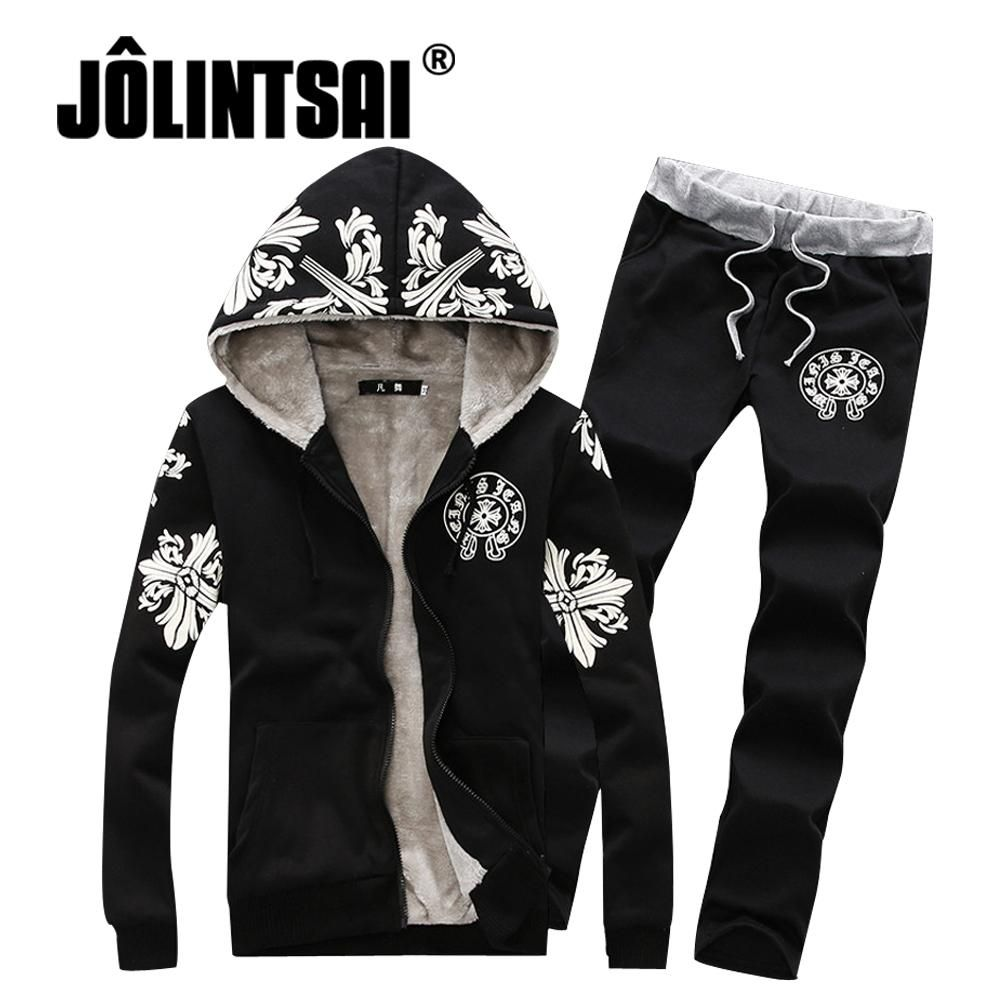 097e052136 Hot Printed Men s Tracksuit with Fleece Winter Casual Hooded Jacket+Pants  Set MaleThick Sporting Suit Men Two Piece Set