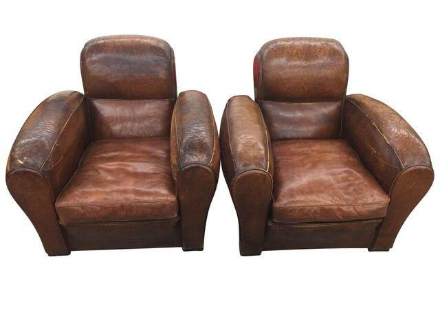 Vintage Leather Cigar Club Chairs A Pair On Chairish
