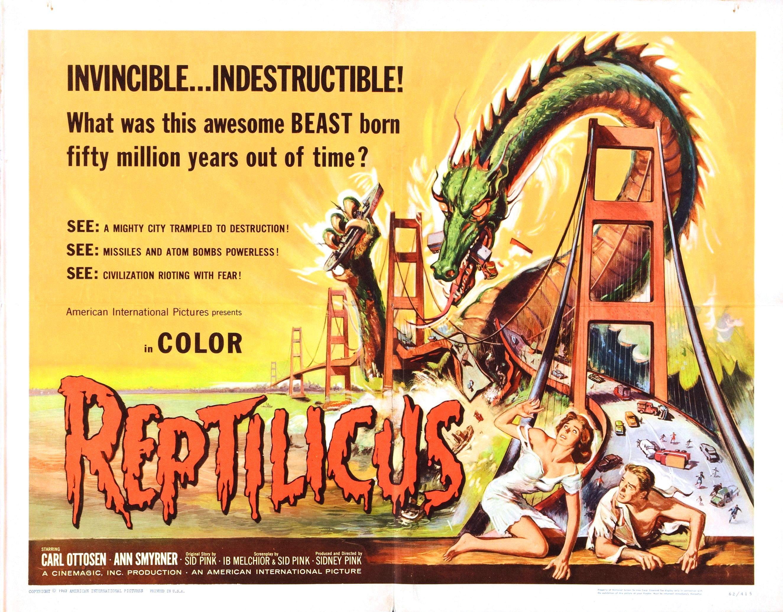 Reptilicus 1961  Action Horror Sci-Fi, Ann Smyrner, Asbjørn Andersen, Bent Mejding, Carl Ottosen, Dirch Passer, Marlies Behrens, Mimi Heinrich, Ole Wisborg, Povl Wøldike, Sidney W. Pink