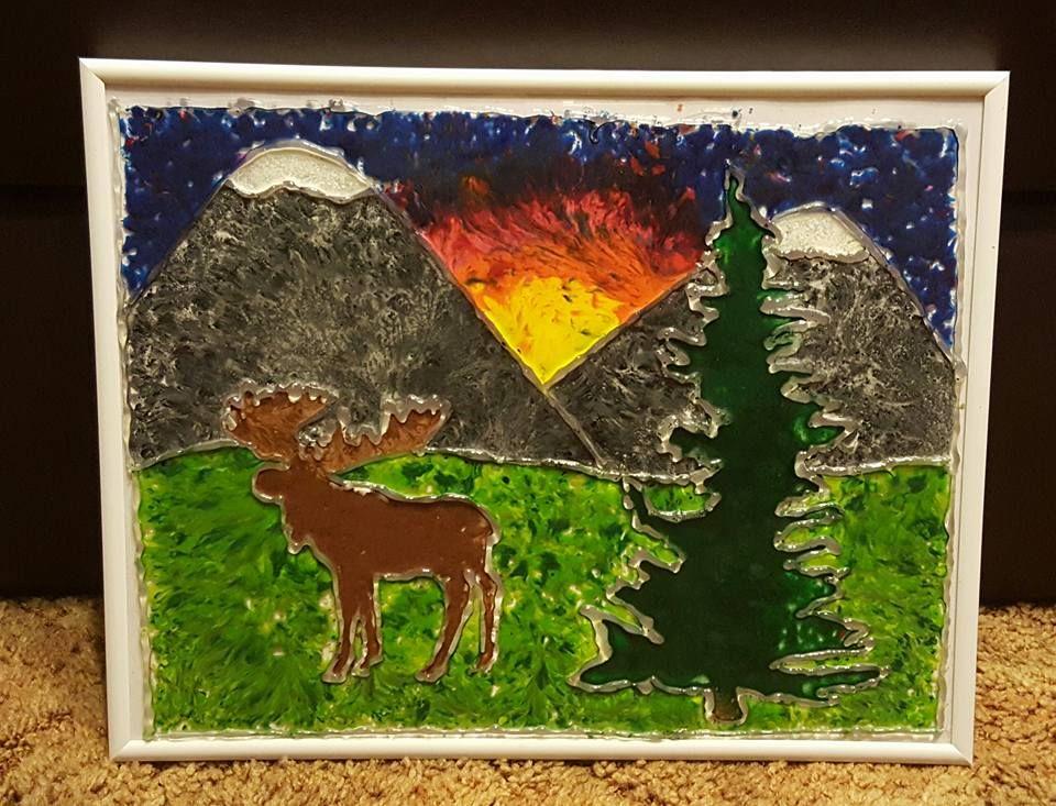 Melted Crayon Art Mountains and Moose Art, Crayon art