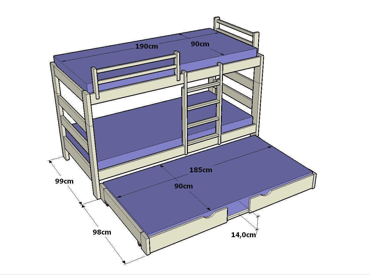 Litera con cama nido 3 en 1 casa ideas pinterest bedrooms - Litera con cama nido ...