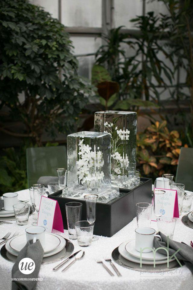 Winter Wedding Frozen Flower Ice Sculpture Table Decor | Uncommon Events
