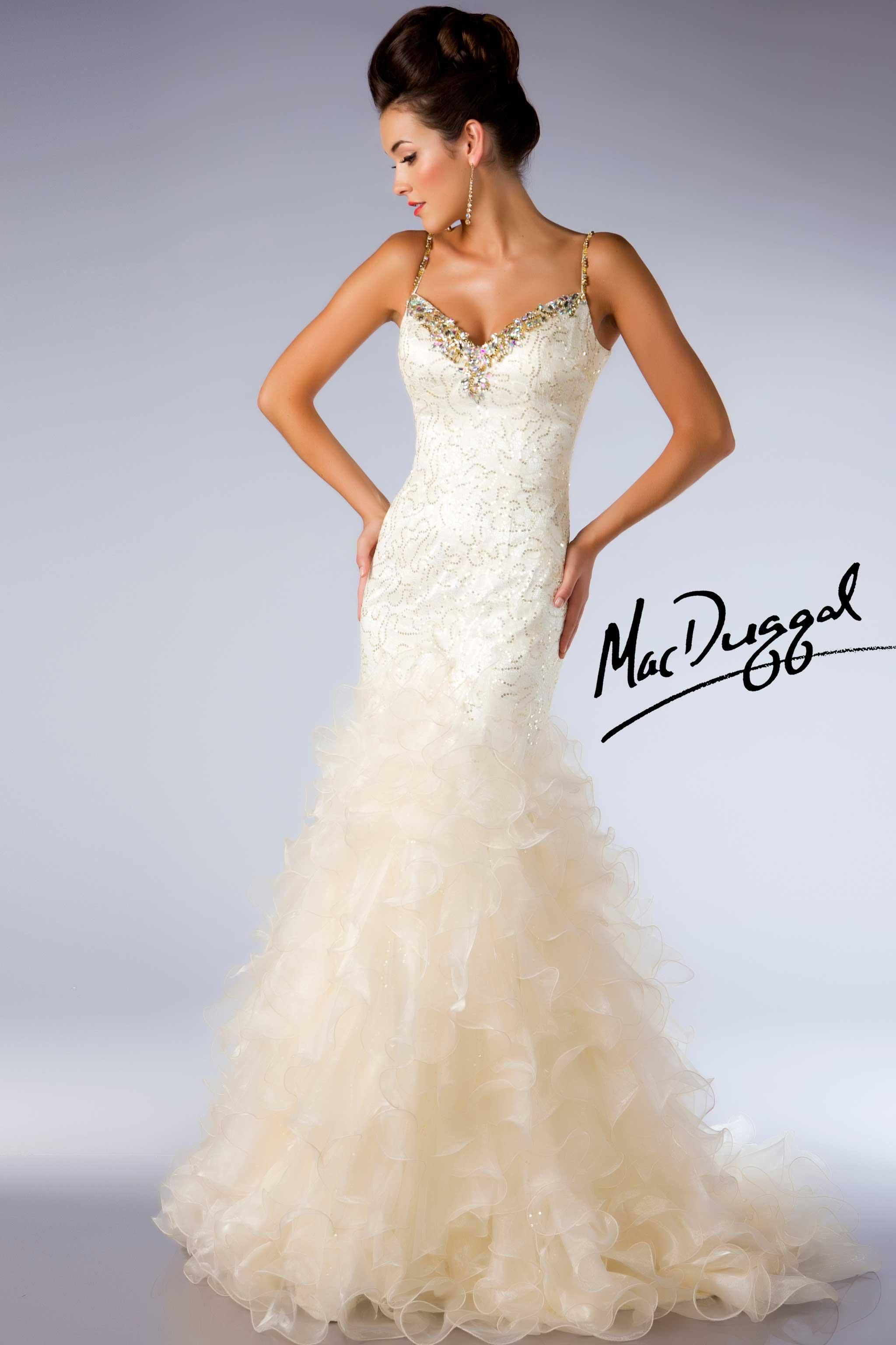 Ivory Ball Gown with Gold Accents - Mac Duggal 64321H | Diamond ...