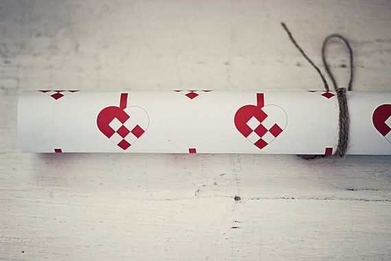 4 sheets Scandinavian Christmas Heart Wrapping by StrandRedesign, $14.00