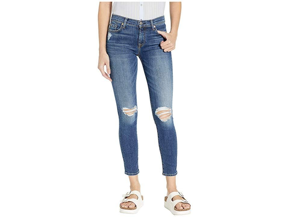 7 For All Mankind B Air Ankle Skinny In Blue Monday Destroy