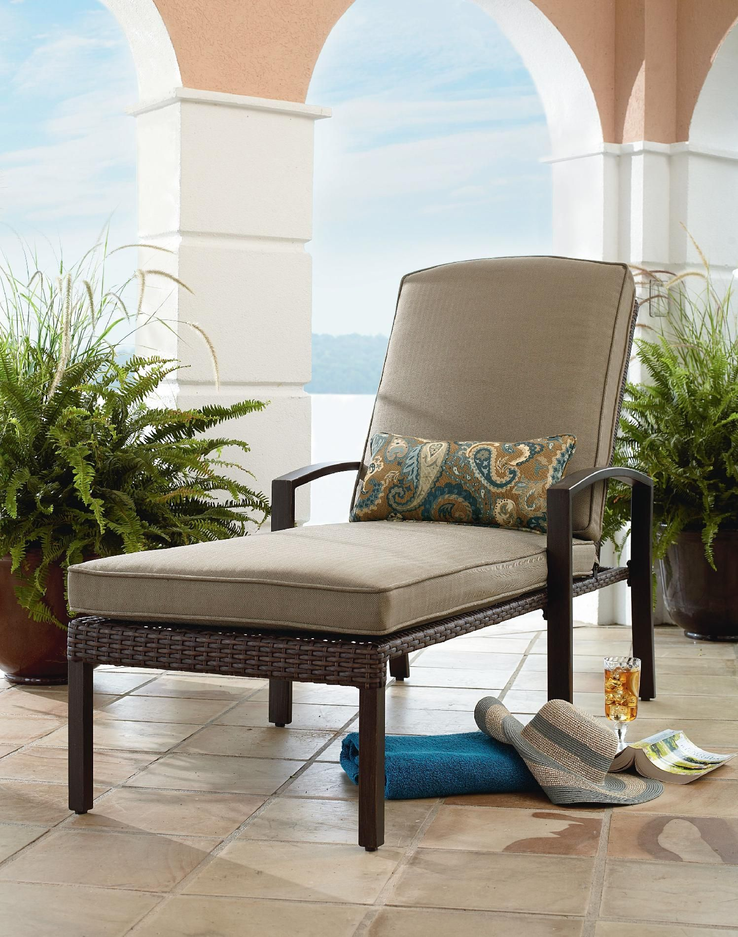 Grand Resort River Oak Chaise Lounge Outdoor Living Patio