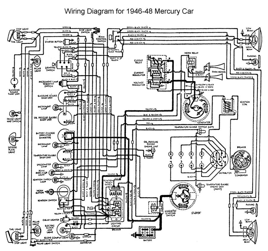 wiring for 1946 to 48 mercury wiring pinterest ford. Black Bedroom Furniture Sets. Home Design Ideas