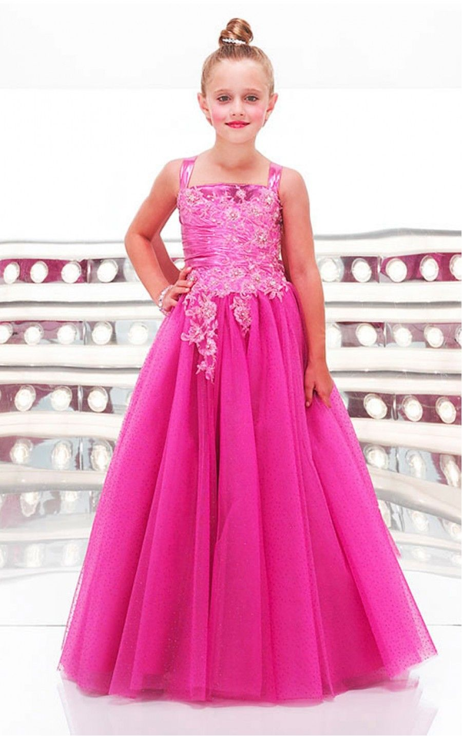 Fuchsia Princess Floor-length Shoulder Straps Dress [Dresses 9273 ...