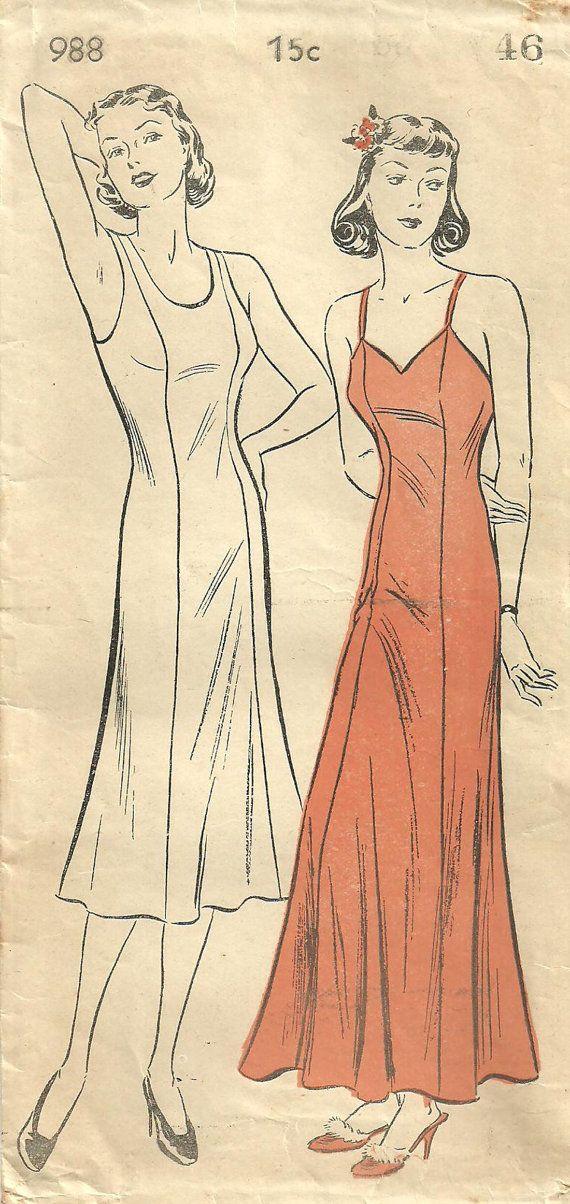 New York 988 Vintage 30s Sewing Pattern Slip by studioGpatterns, $16.50