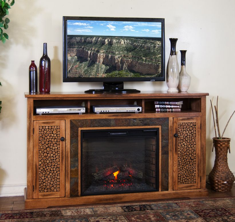 Sd 3489ro 66r 66 Quot Sedona Rustic Oak Fireplace Tv Stand