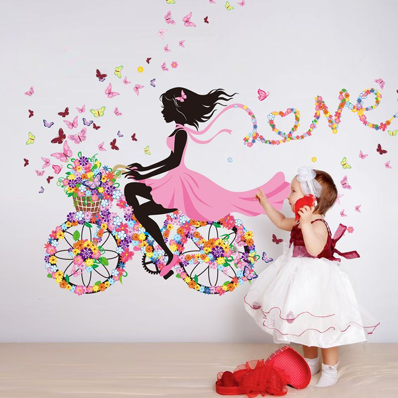 SHIJUEHEZI] Girl Wall Sticker Flower Multi Color Bicycle Love Wall ...