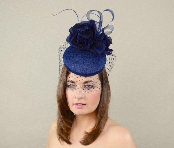 Navy Blue Hat with Birdcage Veil and Silk Flowers - Blue Fascinator ... 40c5bc966c17