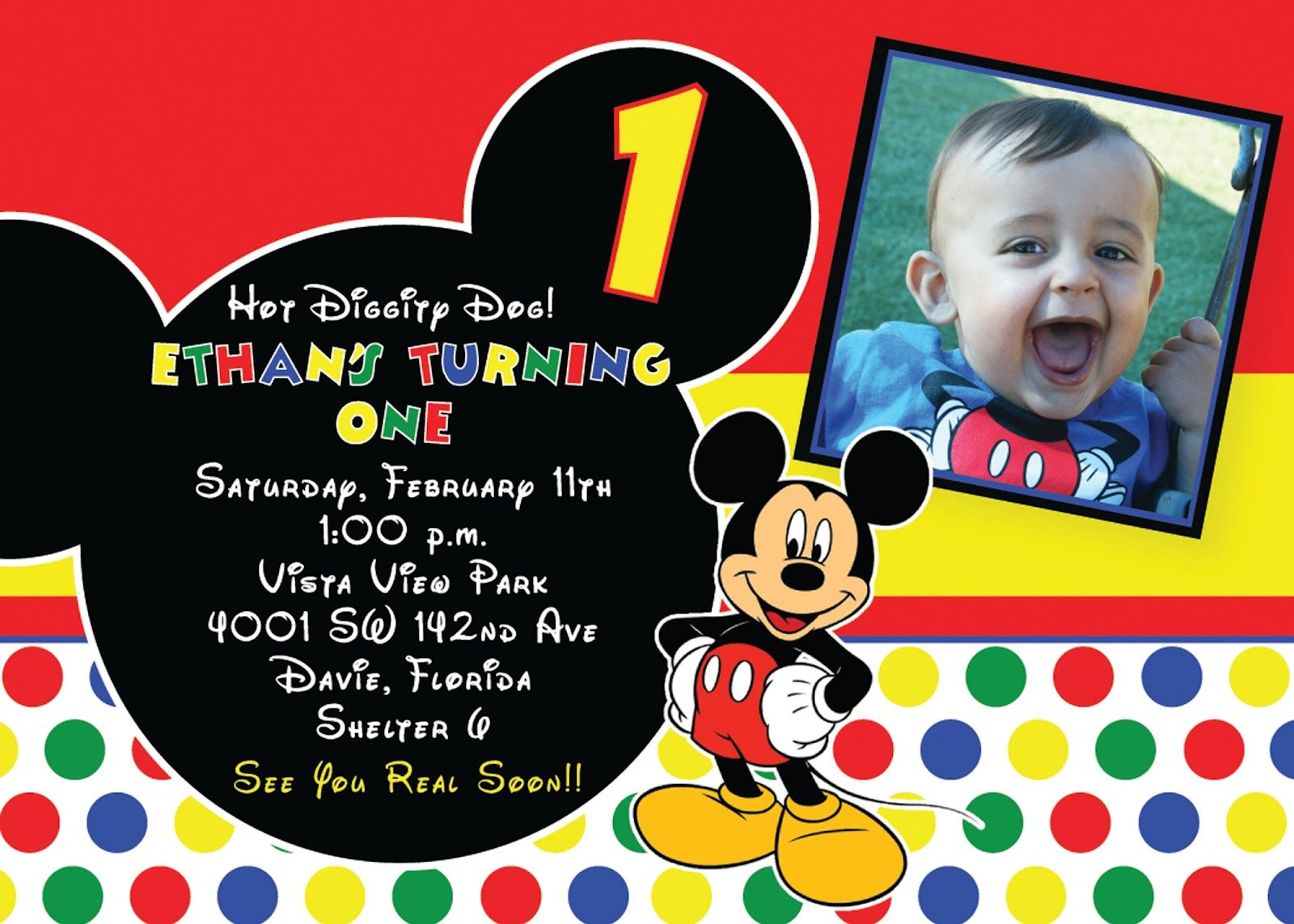 photograph about Free Printable Mickey Mouse 1st Birthday Invitations named Mickey Mouse 1st Birthday Invites Designs Free of charge Printable