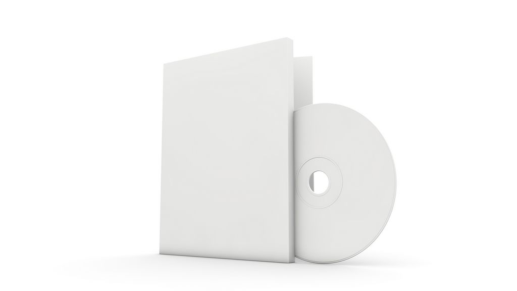 BLANK CD AND COVER 02 Empty, white CD, DVD or Blu-Ray disc, and ...