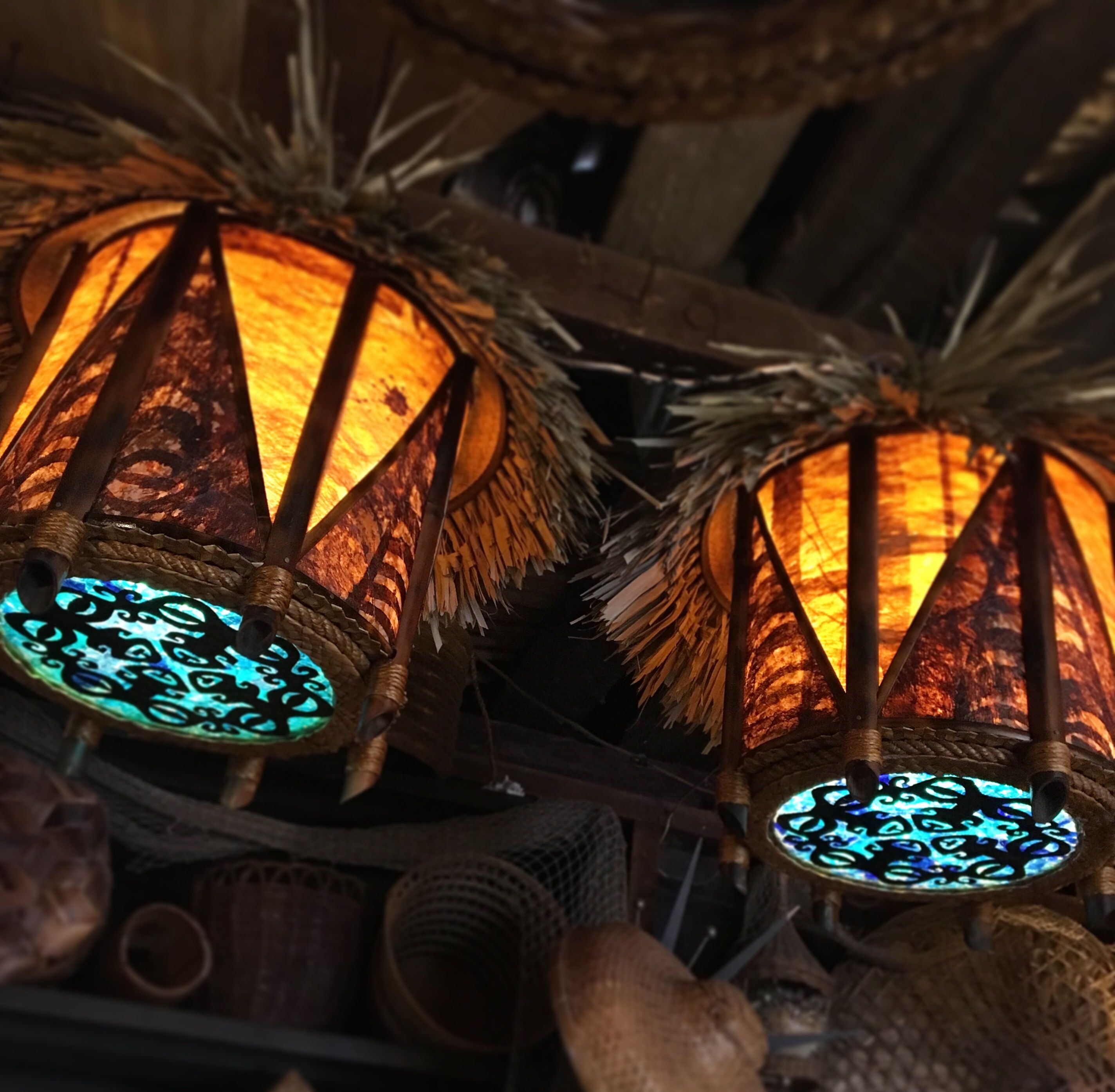 Good Pair Of Thatched Tapa Lamps With Marquesan Tiki And Sea Glass Bottom.