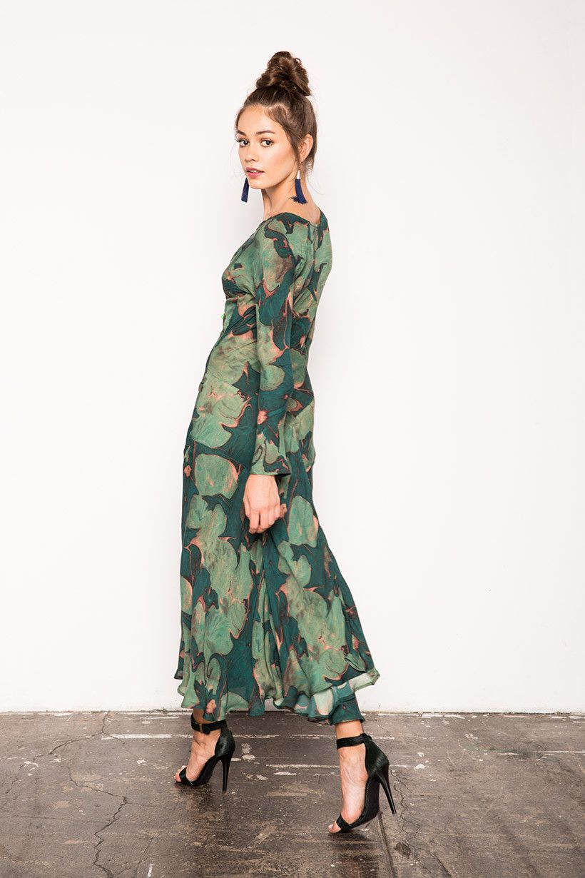 Montague Gown - Green Lily