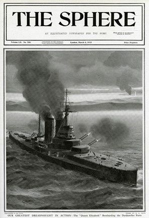 Our greatest dreadnought in action -- the Queen Elizabeth bombarding the Dardanelles forts during the First World War.