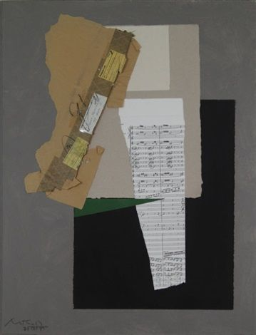 Robert Motherwell, Sacre du Printemps, 1975,  Acrylic and collage on sized canvas, 48 x 36 in. (121.9 x 91.4 cm.)