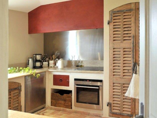 Porte De Placard De Cuisine | Cuisine Avec Portes De Placards Style Volet En Bois Lili House