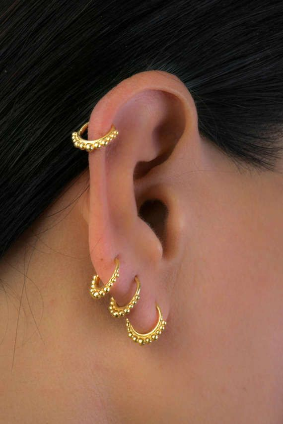 4a936fb35 Gold Plated Earrings, Hoop Earrings, Boho Earrings, Tiny Earrings, Indian  Jewelry, Cartilage Earring