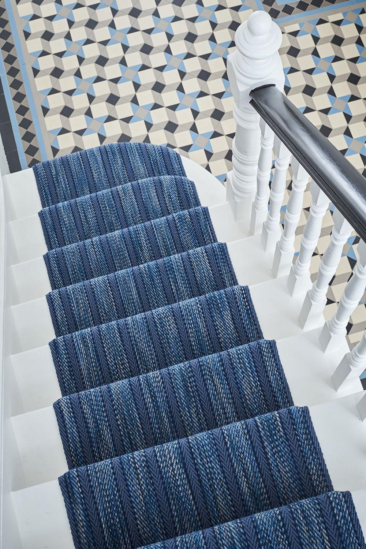 Gorgeous Denim Blue Stair Runner At Mister Smith Interiors