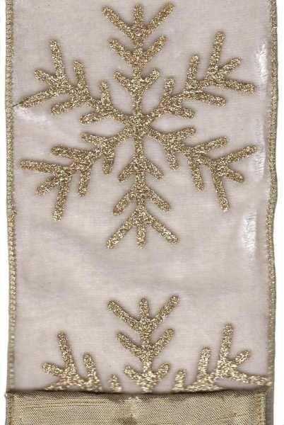 Velvet With Large Gold Glitter Snowflake Winter White